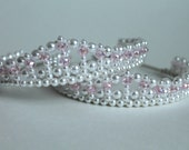 2 Tiaras - Pretty Pink Crystal and Pearl Bride and Flower Girl / Mother and Daughter Tiaras