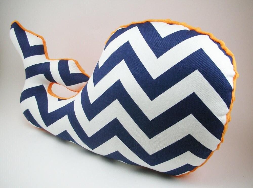 Sophisticated Modern Nautical Nursery: Whale Pillow Modern Nautical Nursery Decor Boy Nursery Navy