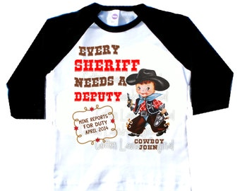 Big brother graphic tee cowboy or big brother to be Every Sheriff needs a Deputy pregnancy announcement