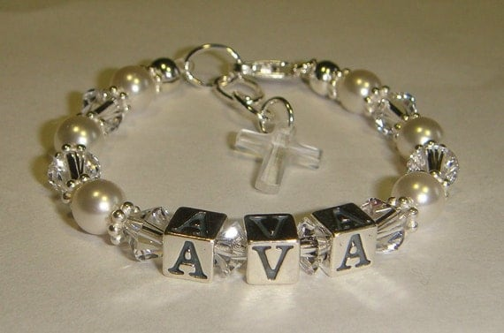 Baby Baptism, Name Bracelet - Swarovski Pearls & Crystals - Sterling Silver - Personalized - Charm Choice - Birthday Gift