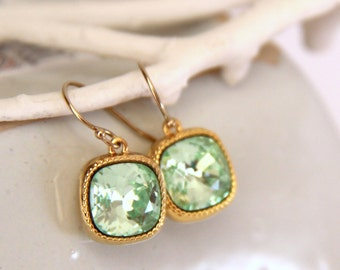 Peridot Chrysolite Earrings with Swarovski Crystals - August Birthstone - Birthstone Jewelry