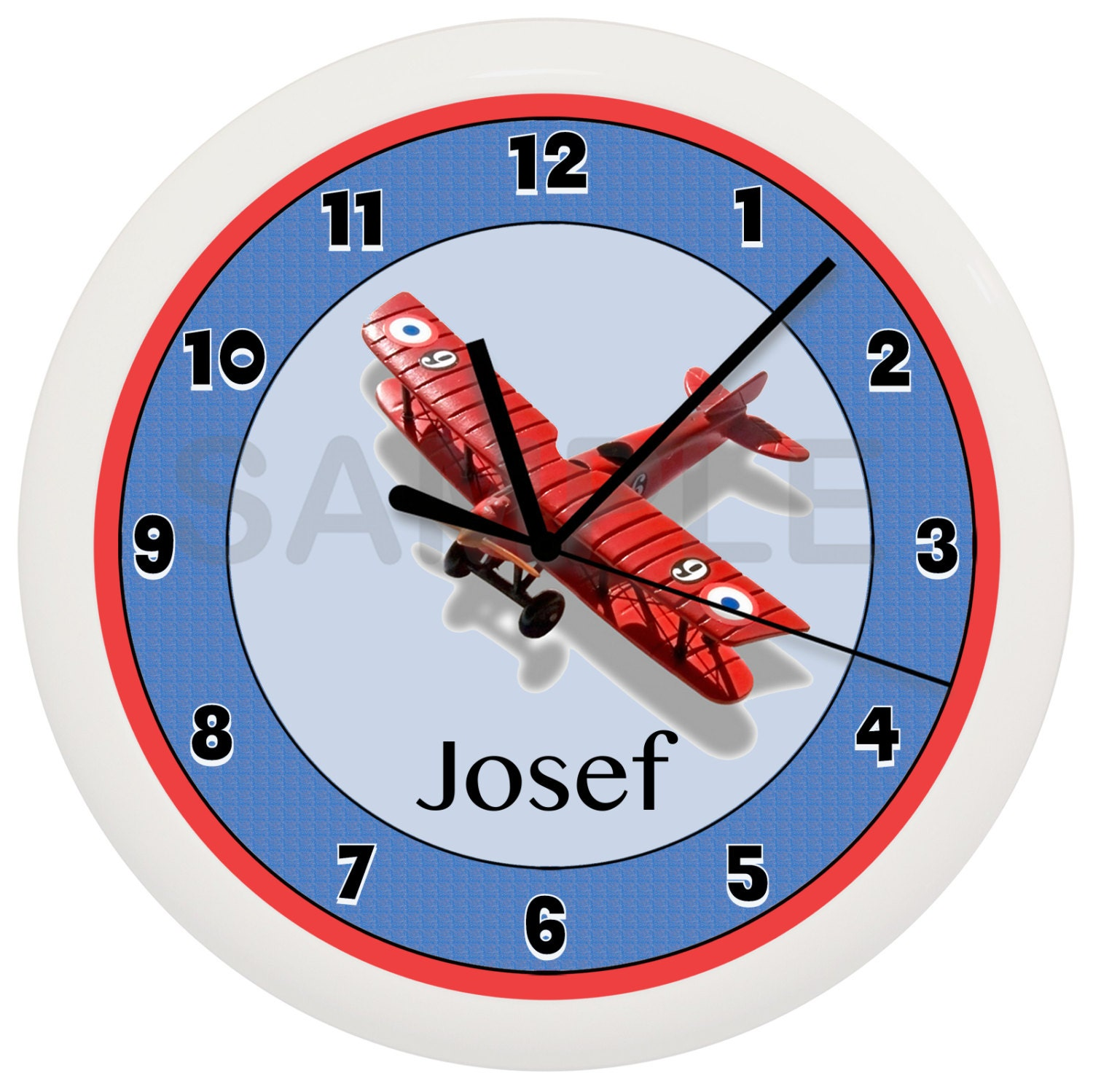 Personalized Airplane Wall Clock Boys Bedroom Decor Room