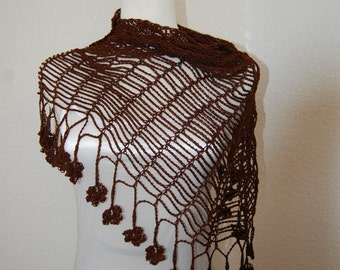 Crochet Shawl in Coffee Brown with floral trim