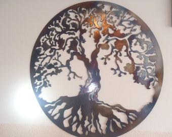 Tree Of Life, Metal Wall decor, Metal Art - HEAT COLORED