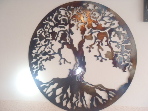 Tree of life metal wall decor metal art heat colored - Decoration mural en metal ...