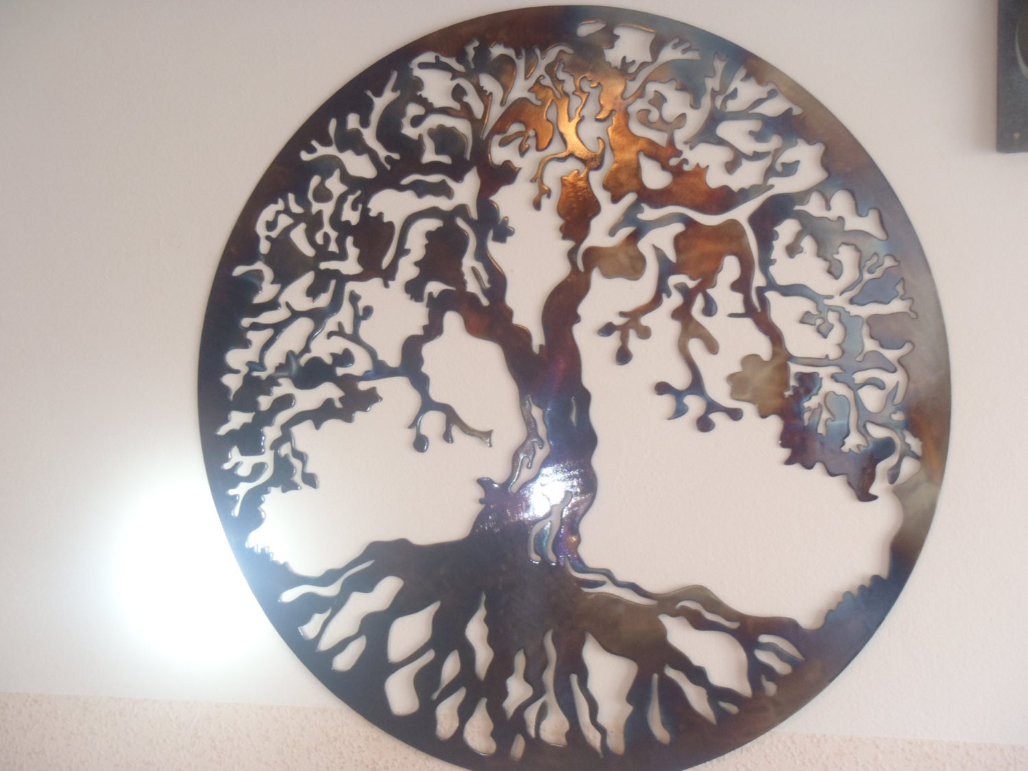 Tree of life metal wall decor metal art heat colored for Decor mural metal