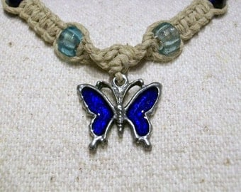 Hemp Necklace with Butterfly, 7 Colors Available