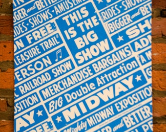 Carnival Show Stick Screenprint. Vintage Materials from Globe Poster Letterpress and typography.