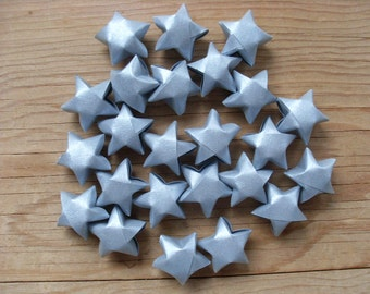 Silver Origami Stars, set of 24.