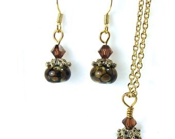 Brown Handmade Lampwork Beads and Swarovski Crystal Necklace and Earring Set
