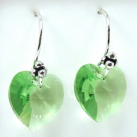 Peridot Green Swarovski Heart Earrings, Valentine's and St. Pat's Day