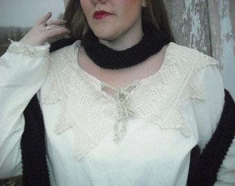 cottage lady lace collar long sleeve front pocket shirt the Copper and Twigs line by Tina-rie Studio
