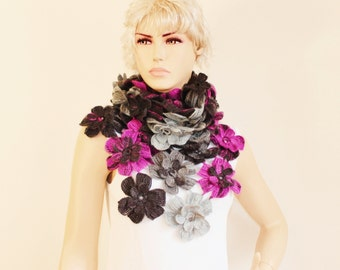 Crochet scarf , long scarf ,woman scarf,gift,colorful scarf,purple ,grey - 4308