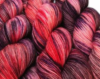 basic sock yarn CHERRY CABARET hand dyed sw wool nylon 3.5oz 460 yards