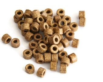 30 pcs Brown Mykonos Greek Ceramic Mini Tube Beads, Mocha Coffee Mykonos Beads, Mocha Greek Ceramic Beads - 4x6mm C 10 195