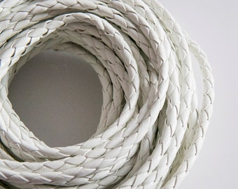 White Braided Bolo Leather Cord (5mm) 1m - 1yard S 40 103