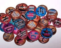 """Cowgirl Way Set of 10 Buttons 1 Inch Pin Back Buttons 1"""" Pins or Magnets Rodeo Girl"""