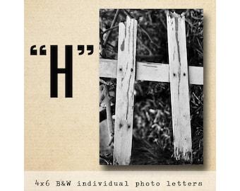 Letter H Alphabet Photography  Black & White 4x6 Photo Letter UNFRAMED