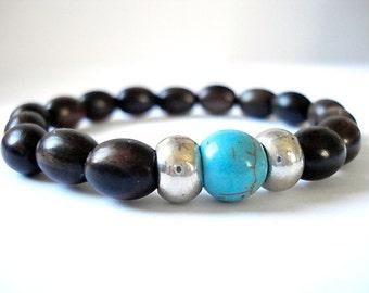Magnetite Yoga Bracelet, Wooden Mala Beads, Silver, Magntite Bracelet For Yoga or Meditation