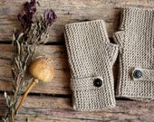 Autumn Finds/ Arm Warmer / Hand Knit Fingerless Gloves /Khaki Green / Medium size fits most. / Autumn color