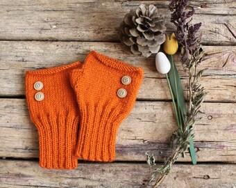 Hand Knit Fingerless Gloves . Winter Fashion 2014 . Girls Women. Valentines Day. Love. Orange/ Halloween Gift