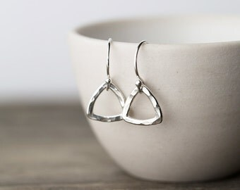 Tiny Geometric Silver Earrings, Sterling Silver Triangle Earrings, Jewelry Gift for Her, Simple Earrings Jewelry by Burnish