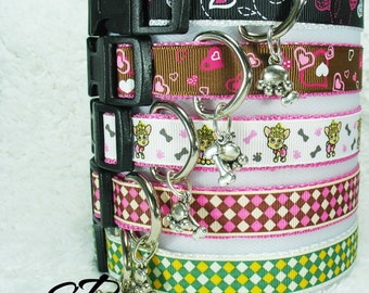 Valentines Argyle Dog Collars Small