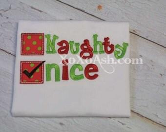 Naughty or Nice Shirt--NICE version--Embroidered shirt or Bodysuit