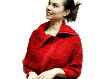 Made to Order: Elegant Hand Knit Red Poncho with zipper, Handknit Zippered Cabled Poncho, autumn, early spring, custom - choose your color