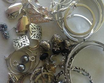 SALE Earrings Pierced Silver tone Vintage De-stash lot 663