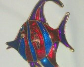 Vintage Red and Blue Enamel Tropical Fish Brooch
