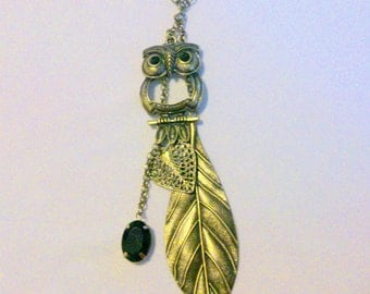 Vintage Brass Tone Owl and Leaf Necklace