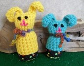 Amigurumi Crochet Bunnies easter decoration, yellow or turquoise (choose one)