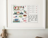 Vintage French Primary School Alphabet charts, Lesson 15
