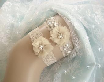 Champagne Wedding Garter /  Rhinestone Garter / Crystal Garter / Toss Garter / Garter Belt / Garder