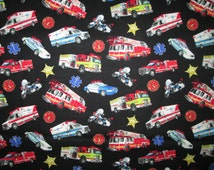 Emergency Vehicles Police Cars Ambulance Fire Trucks Cotton Fabric Fat Quarter or Custom Listing