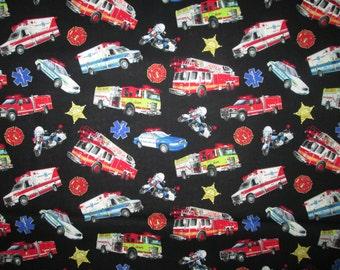 Emercency Vehicles Police Cars Ambulance Fire Trucks First Responders Cotton Fabric Fat Quarter Or Custom Listing