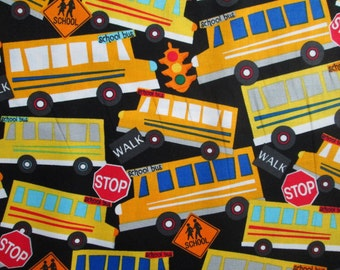 Packed School Bus Signs Red Cotton Fabric Fat Quarter Or Custom Listing