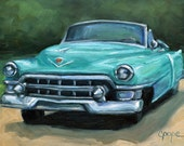 Turquoise Teal Cadillac painting, Classic Vintage Car Art