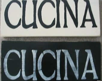 """CUCINA Italian Heritage Kitchen Plaque Sign Wooden Chef U-Pick Color Horizontal 14"""" Hand Painted"""
