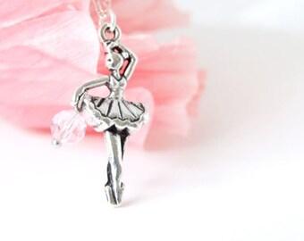 Silver Ballerina Necklace. Dancer Necklace. Silver Ballerina Necklace. Dancer Jewelry
