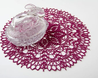 Crochet Doily, tabletop decor, lace centerpiece, frame for wall decor, raspberry, deep english rose, heirloom quality, cottage chic