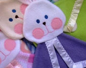 Baby bunny security blanket. Lilac. Fisher Price Replica.