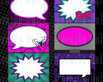 Super Girl Printable Cards, tags, book labels, stickers, kids cards, gift tags, labeling, scrapbooking, etc.....INSTANT DOWNLOAD