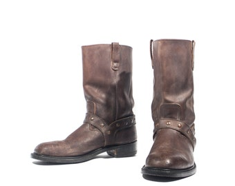 8.5 | Men's Vintage Hy-Test Motorcycle Brown Harness Boots Studded Straps Steel Toes