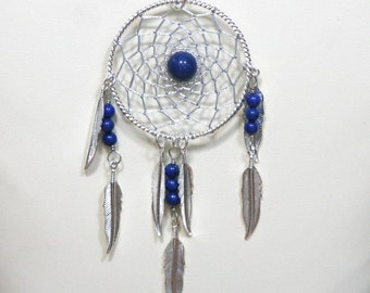 Dream Catcher Lapis Lazuli & Silver Dreamcatcher Necklace with Feathers large