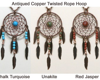 Dream Catcher Chalk Turquoise, Unakite, Red Jasper, Antiqued Copper Dreamcatcher Necklace with Feathers