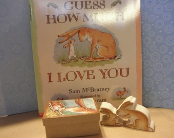 Guess How Much I Love You Wooden Toy Set  in Box Story Book  Series Waldorf Inspired