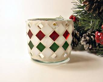 Stained glass mosaic tealight candle holder red green white