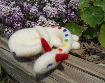 Sleeping Rainbow Dragon / Needle Felted Wool Dragon Fantasy Doll / Waldorf Soft Toy / Dragon Fairy Tale Figurine / LGBT Pride